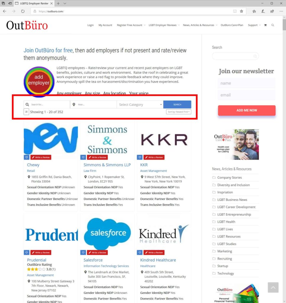 Step 1 - LGBT Employee Rate Employer Review Company Rating - OutBuro - Branding Gay Lesbian Bisexual Transgender Disversity Inclusion HRC Corporate Equality Index