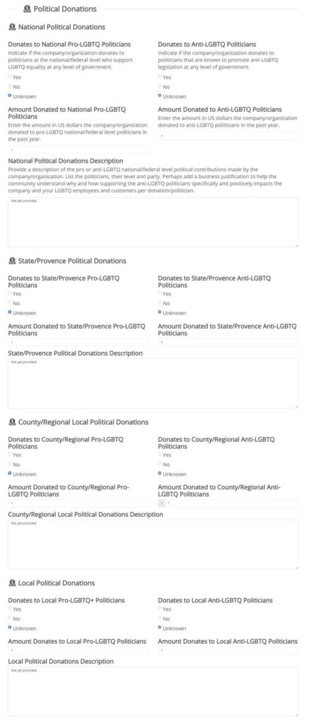 Pro and Anti-LGBTQ Political Donations - Add Employer Listing LGBTQ Employee Company Reviews Ratings - OutBuro - LGBT Corporate Workplace Equality Diversity Inclusion