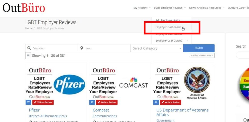 Step 9-3 - Claim Employer Listing LGBTQ Employee Company Reviews Ratings - OutBuro - LGBT Corporate Workplace Equality Gay Lesbian Queer Diversity Inclusion