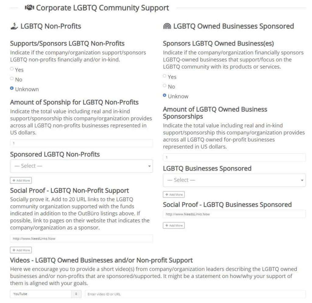 We Sponsor Businesses Non-profits LGBTQ corporate equality employer reviews ratings monitoring branding Workplace - OuutBuro - diversity inclusion discrimination